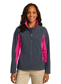 womens outerwear - port authority ladies core colorblock soft shell jacket