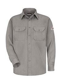 mens long sleeve work shirt - grey