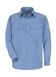 mens long sleeve work shirt - blue