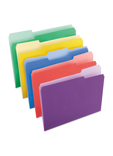 multi-colored filing folders